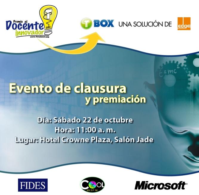 Tarjeta de invitación clausura Docente Innovador 2011