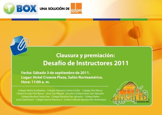 Tarjeta de invitación Clausura Desafío a Instructores 2011