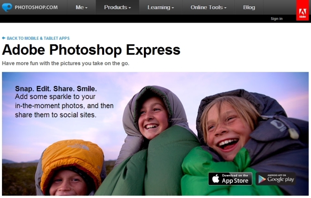Adobe Photoshop Express [Pantalla principal]