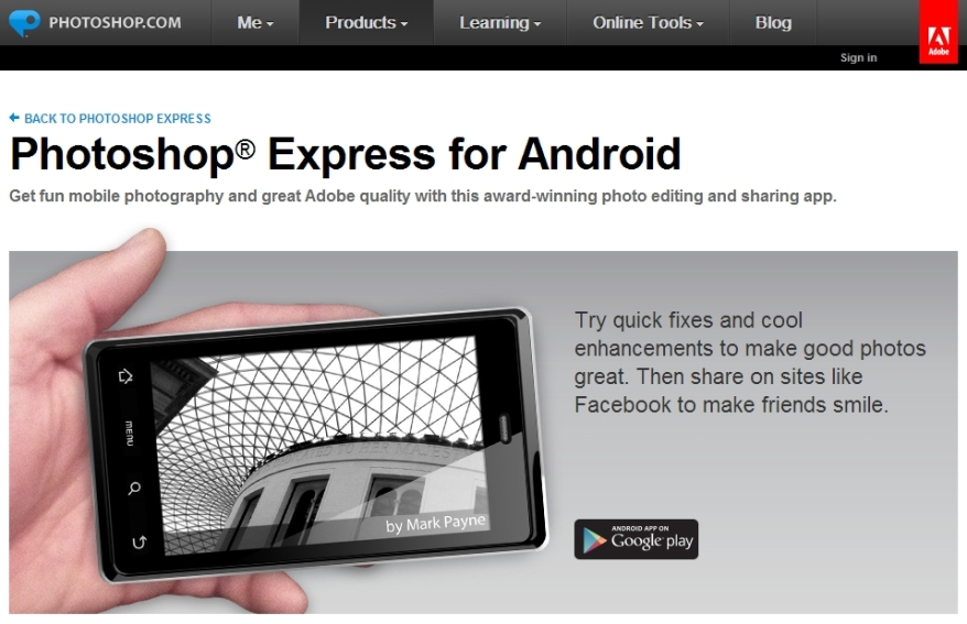 Adobe Photoshop Express para Android [Pantalla principal]