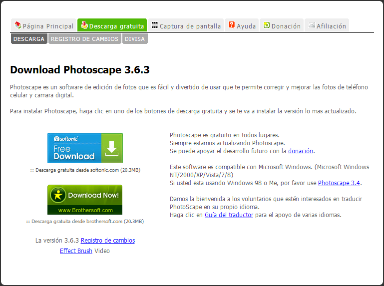 Photoscape [Pantalla de descarga]