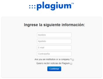 Plagium [Formulario de creación de cuenta]